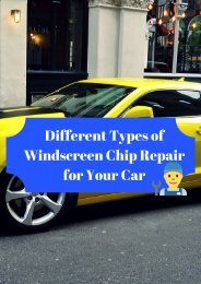 Different Types of Windscreen Chip Repair for Your Car