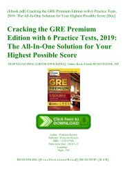 (Ebook pdf) Cracking the GRE Premium Edition with 6 Practice Tests  2019 The All-In-One Solution for Your Highest Possible Score [Doc]