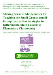 [PDF] DOWNLOAD READ Making Sense of Mathematics for Teaching the Small Group (small-Group Instruction Strategies to Differentiate Math Lessons in Elementary Classrooms) Free Download