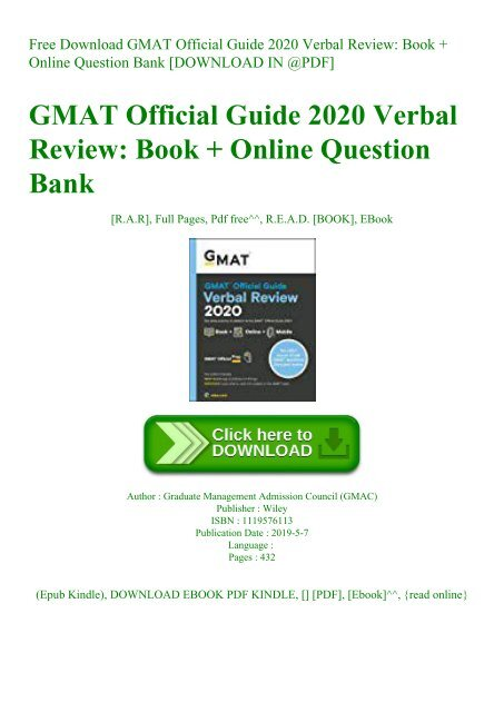 Epub]$$ the official guide for gmat verbal review 2017 with online q….