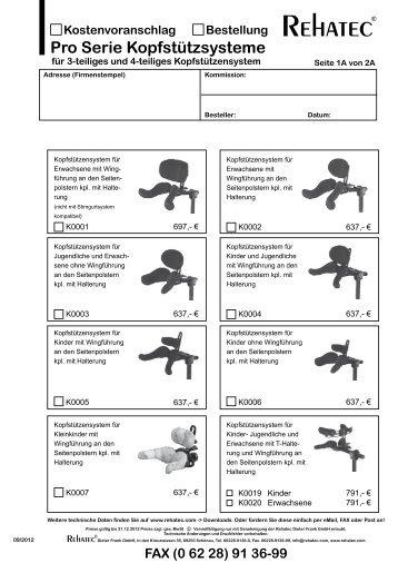 Pro Serie Kopfstützsysteme - Rehatec