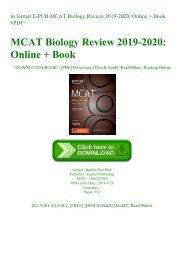in format E-PUB MCAT Biology Review 2019-2020 Online + Book #PDF~