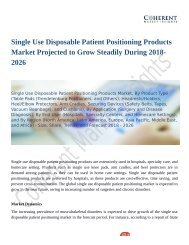Single Use Disposable Patient Positioning Products Market Expansion to be Persistent During 2018 – 2026