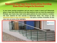 Balustrade Glass Cape Town South Africa: Providing Glass-Fitted Designs for Structures