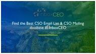 CSO Email List | CSO Mailing Database | CSO Email Leads #CSOEmailLeads #CSOMailingDatabase