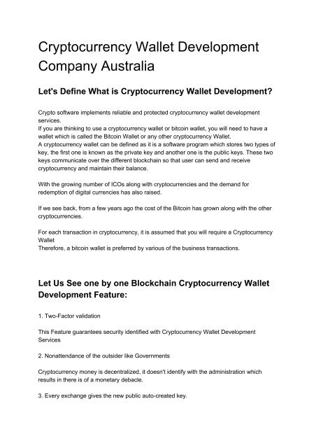 wallet for cryptocurrency australia