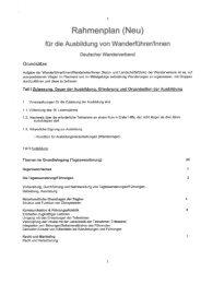 Rahmenplan DWV-Wanderführer® Ausbildung