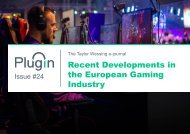 PlugIn Issue #24 - Recent Developments in the European Gaming Industry