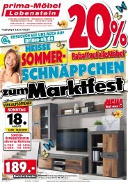 Heiße Sommer-Schnäppchen zum Marktfest bei prima-Möbel in 07356 Bad Lobenstein