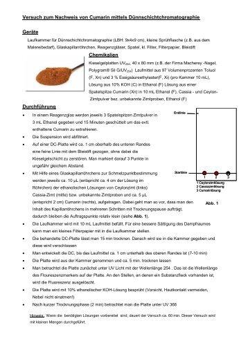 Versuch zum Nachweis von Cumarin mittels ... - Lehrer-Online