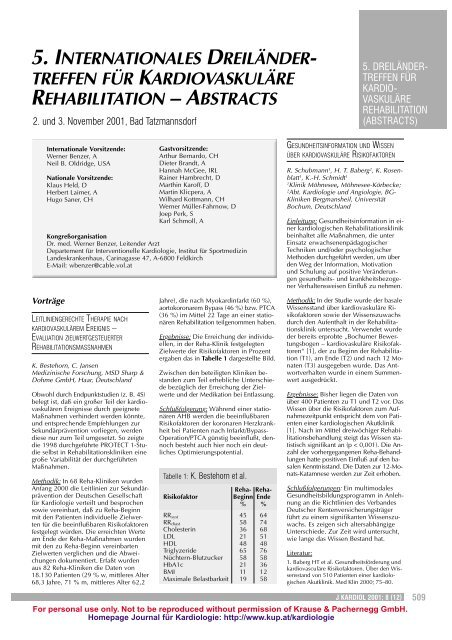 treffen für kardiovaskuläre rehabilitation – abstracts - AGAKAR