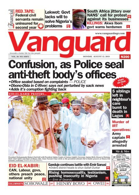 12082019 - Confusion, as Police seal anti-theft body's offices