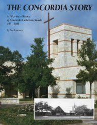 The Concordia Story: A Fifty-Year History  of Concordia Lutheran Church 1951-2001