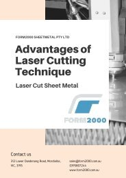 Advantages of Laser Cutting Technique - Form2000 Sheetmetal