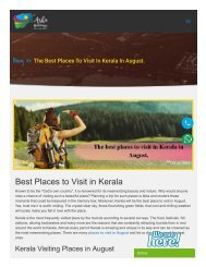 The Best Places to Visit to Kerala in August - Kerala Tour Packages
