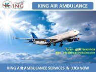 Get Quick King Air Ambulance Services from Lucknow and Bokaro