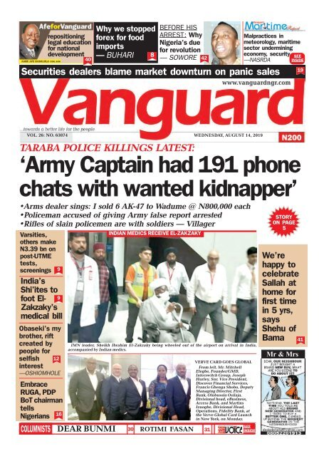 14082019 - TARABA POLICE KILLINGS LATEST:'Army Captain had 191 phone chats with wanted kidnapper'