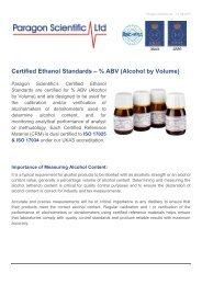 Paragon Scientific Certified Ethanol Standards Guide