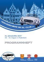 Mercedes-Benz 190 SL-Club - Programmheft - Jahrestreffen Paderborn 2019