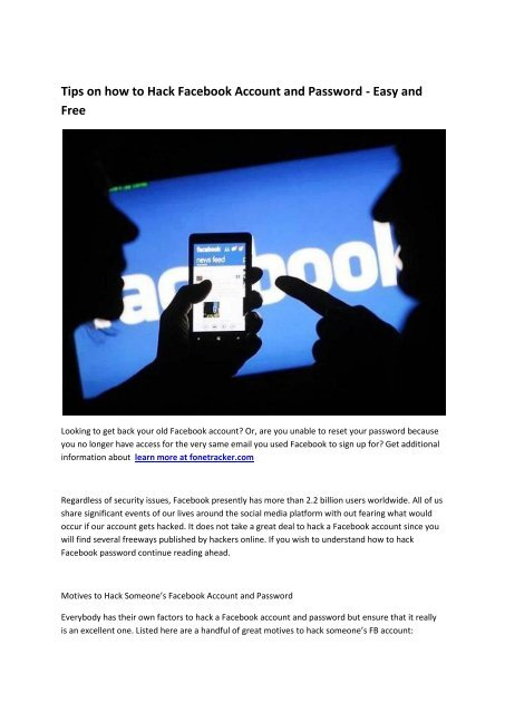 4 How To Hack Facebook Account At Fonetracker Com