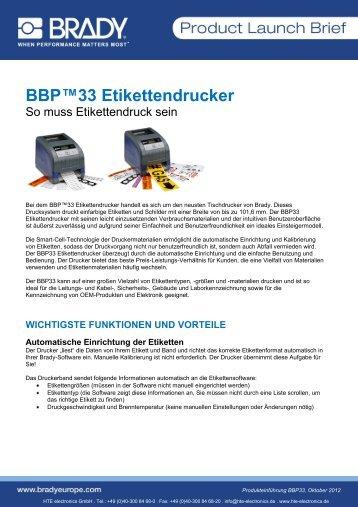 BRADY BBP™33 Etikettendrucker - HTE