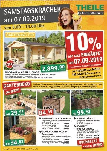 Samstagskracher bei Holz Theile in Elsterwerda - 10% Rabatt auf alle Einkäufe
