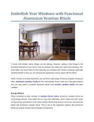 Embellish Your Windows with Functional Aluminium Venetian Blinds