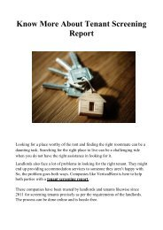 Know More About Tenant Screening Report
