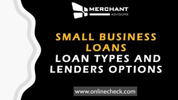 Small business loans loan types and lenders options