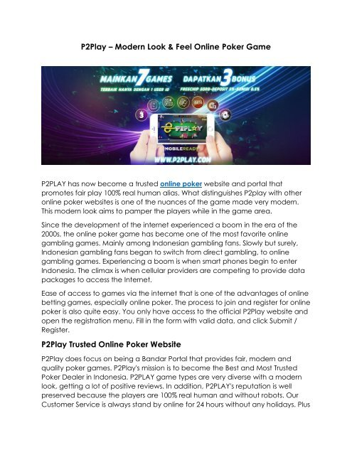 P2play Trusted Poker Online Game Indonesia