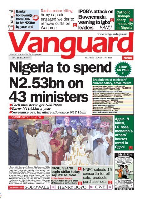 19082019 Nigeria To Spend N253bn On 43 Ministers