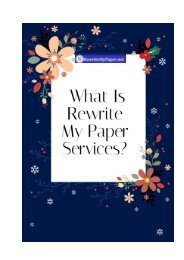 What Is Rewrite My Paper Services?