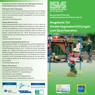 Angebote für Kindertageseinrichtungen und Sportvereine