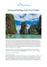 Amazing and Cool Things to Do in Trip of Thailand