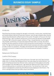 Business Essay Sample