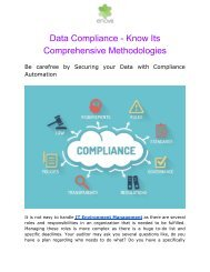 Data Compliance- Know its Comprehensive Methodologies