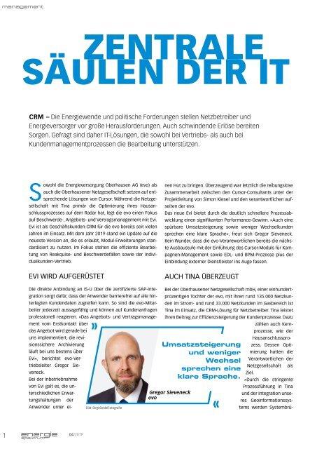 evo und Oberhausener Netzgesellschaft, energiespektrum 04/2019