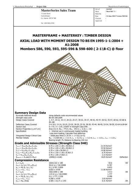 MasterSeries Timber Design Sample Output
