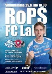 Käsiohjelma RoPS - FC Lahti 25.8.2019
