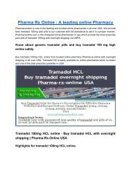 Tramadol 100mg HCL online - Buy tramadol HCL with overnight shipping | Pharma-Rx-Online USA