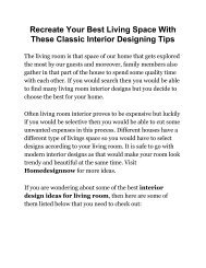 Recreate Your Best Living Space With These Classic Interior Designing Tips