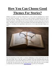 How You Can Choose Good Themes For Stories