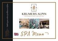 Krumers Alpin SPA MENU  | EN