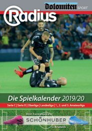 Radius Fussball Spielkalender 2019