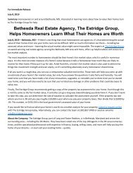 Bethesda Real Estate Agency, The Estridge Group, Helps Homeowners Learn What Their Homes are Worth