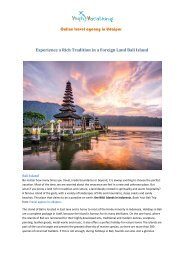 Experience a Rich Tradition In a Foreign Land Bali Island