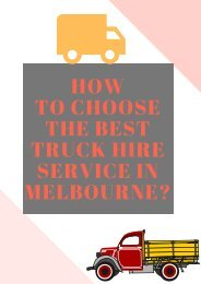How to Choose the Best Truck Hire Service in Melbourne?