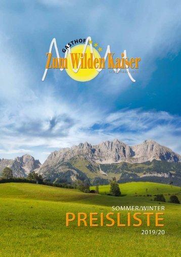 Preisliste Gasthof Zum Wilden Kaiser 2019_20