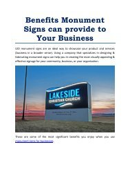 Benefits Monument Signs can provide to Your Business