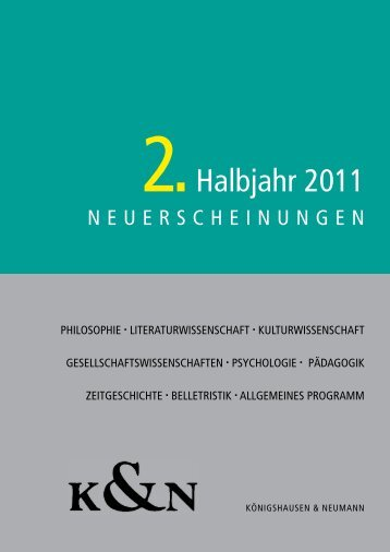2.Halbjahr 2011 - Verlag Königshausen & Neumann